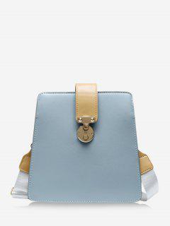 Colorblock Square Crossbody Bag - Blue Gray