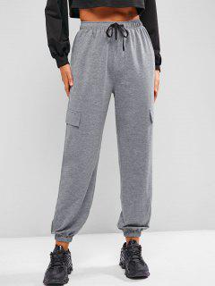ZAFUL Flap Detail Drawstring Cargo Joggers - Cloudy Gray S