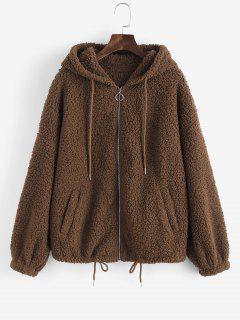 ZAFUL Drop Shoulder Drawstring Teddy Coat - Coffee M