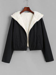 ZAFUL Teddy Lined Hooded Coat - Black S