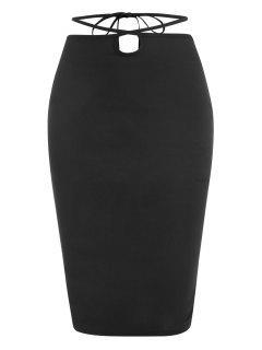 ZAFUL Straps Wrap Bodycon Knee Length Skirt - Black M