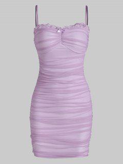 Mesh Lace Trim Ruched Cami Bodycon Dress - Purple S