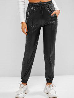 Zippered Pockets Drawstring Faux Leather Pants - Black Xl