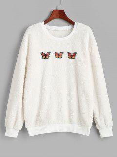Ribbed Trim Fluffy Butterfly Embroidered Sweatshirt - White M
