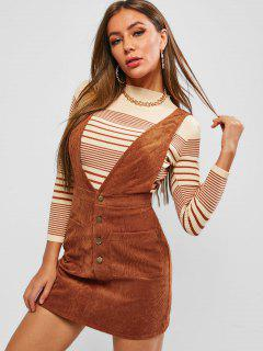 ZAFUL Corduroy Pocket Plunging Pinafore Dress - Mahogany S