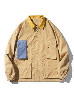 Drop Shoulder Contrast Multi Pockets Jacket - Khaki M