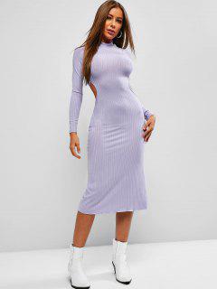Tie Back Ribbed Backless Midi Dress - Medium Purple L