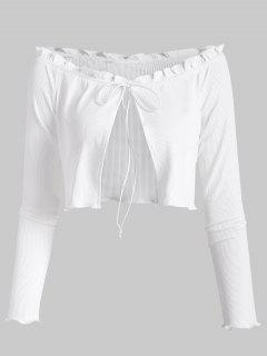 ZAFUL Geripptes Schulterfreies Slim T-Shirt - Weiß L