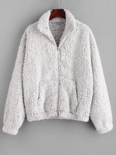 ZAFUL Pockets Fluffy Faux Fur Teddy Coat - Ash Gray M