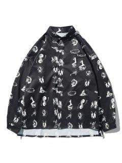 High Low Animal Figure Skull Allover Pattern Shirt Jacket - Black M