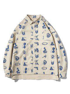 High Low Animal Figure Skull Allover Pattern Shirt Jacket - Light Khaki 2xl