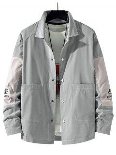 Embroidery Letter Contrast Patchwork Stitching Jacket - Light Gray M