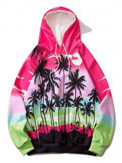Ombre Palm Tree Hawaii Print Hoodie - Rose Red M
