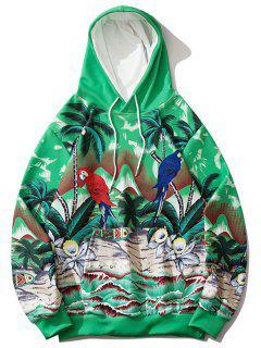 Palm Tree Parrot Flower Tropical Print Hoodie - Clover Green Xl