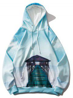 Sky Cloud Sea Bridge Landscape Print Hoodie - Blue Ivy M