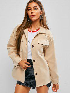 ZAFUL Woolen Pocket Belted Drop Shoulder Coat - Light Khaki S