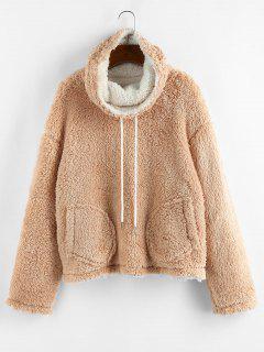 ZAFUL Fluffy Drop Shoulder Reversible Cowl Neck Sweatshirt - Light Coffee M
