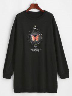 ZAFUL Moon And Butterfly Drop Shoulder Tunic Sweatshirt - Black M