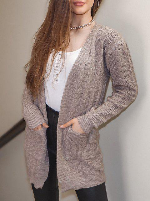 sale Open Front Dual Pocket Cable Knit Cardigan - COFFEE ONE SIZE Mobile