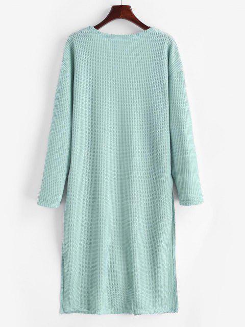 buy ZAFUL Open Front Textured Slit Cardigan - LIGHT GREEN M Mobile