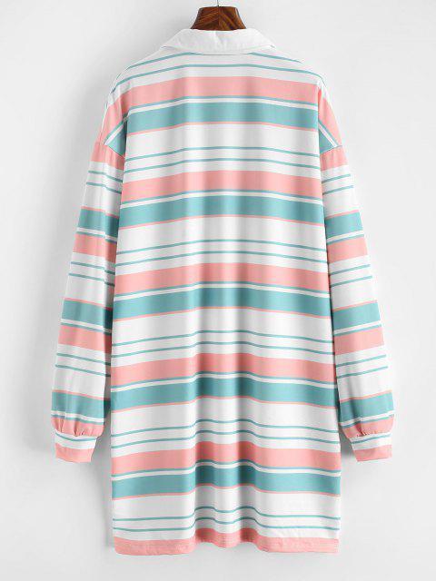 chic Striped Shift Sweatshirt Dress - MULTI M Mobile