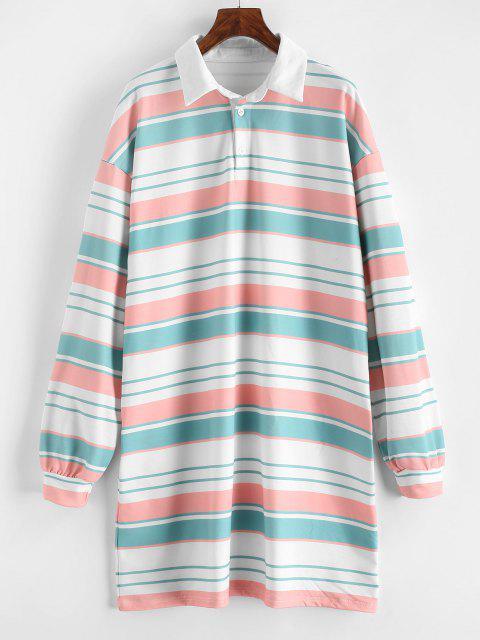 best Striped Shift Sweatshirt Dress - MULTI L Mobile