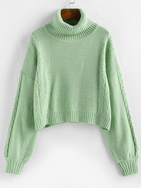 buy ZAFUL Turtleneck Cable Knit Sweater - LIGHT GREEN S Mobile