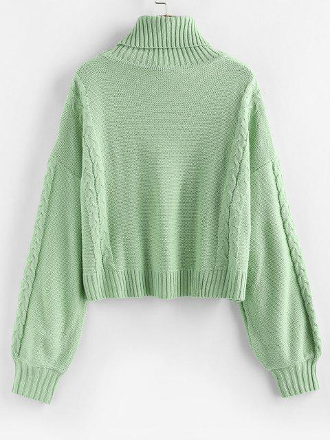 shop ZAFUL Turtleneck Cable Knit Sweater - LIGHT GREEN M Mobile