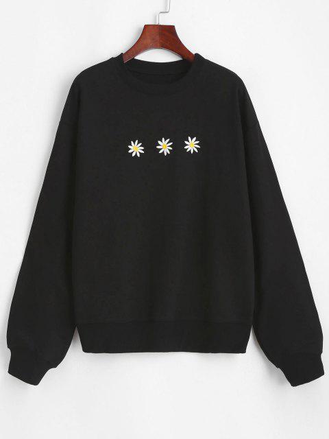 chic Crew Neck Daisy Embroidered Sweatshirt - BLACK XL Mobile