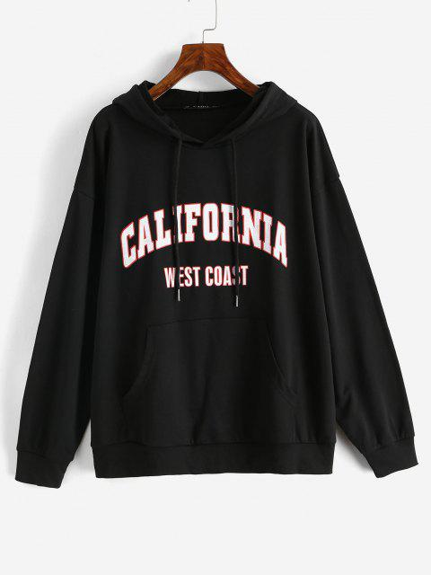 womens Drawtring WEST COAST Graphic Front Pocket Hoodie - BLACK M Mobile