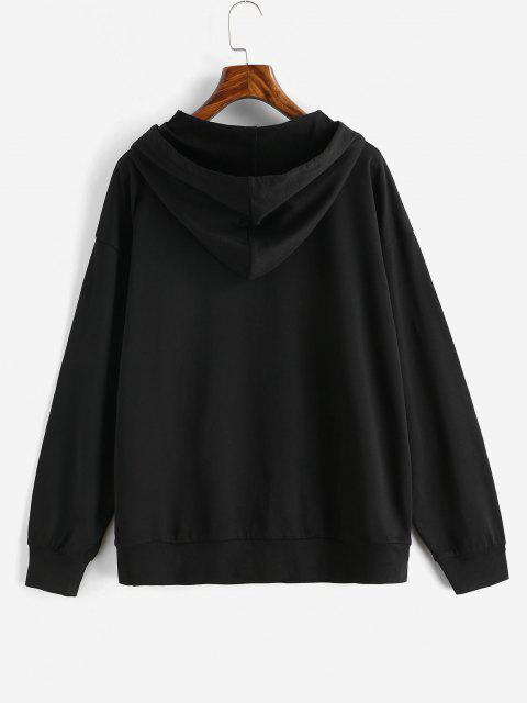 women Drawtring WEST COAST Graphic Front Pocket Hoodie - BLACK L Mobile
