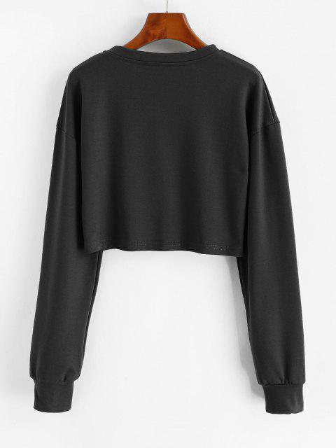 fashion Sun Moon Print Cropped Sweatshirt - BLACK XL Mobile