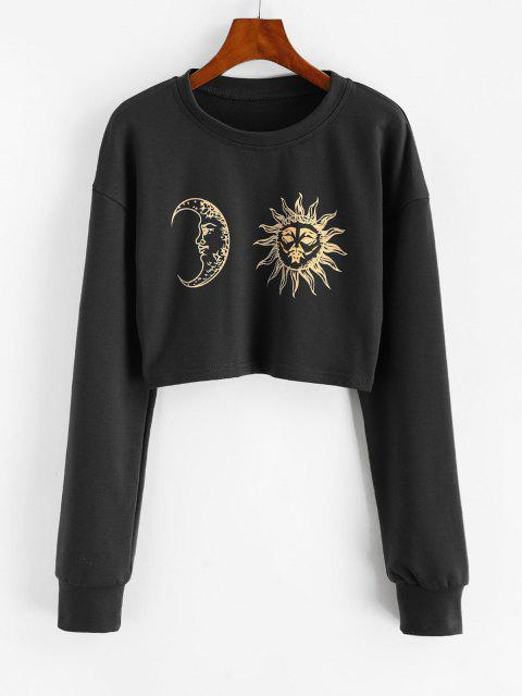 fashion Sun Moon Print Cropped Sweatshirt - BLACK XL Mobile