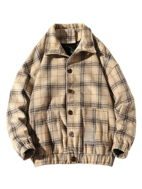 He Is A Boy Embroidery Plaid Button Up Jacket - اللون البيج XL Mobile