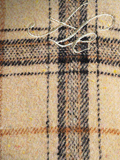 shops He Is A Boy Embroidery Plaid Button Up Jacket - BEIGE XL Mobile