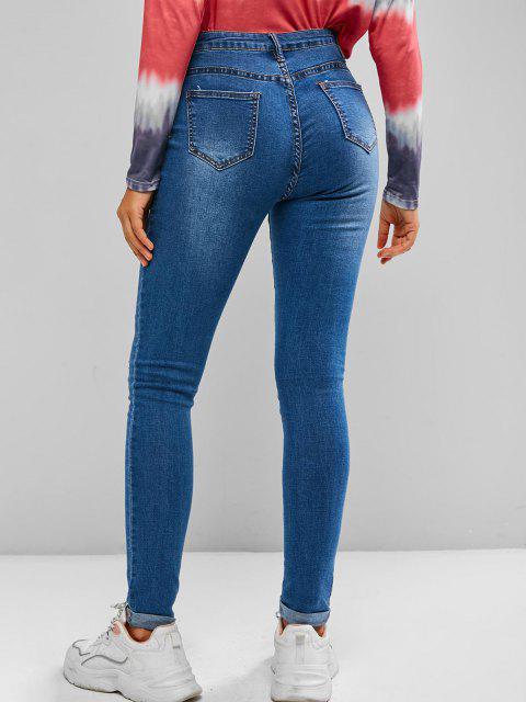 Jeans Ajustado Rasgado - Azul L Mobile