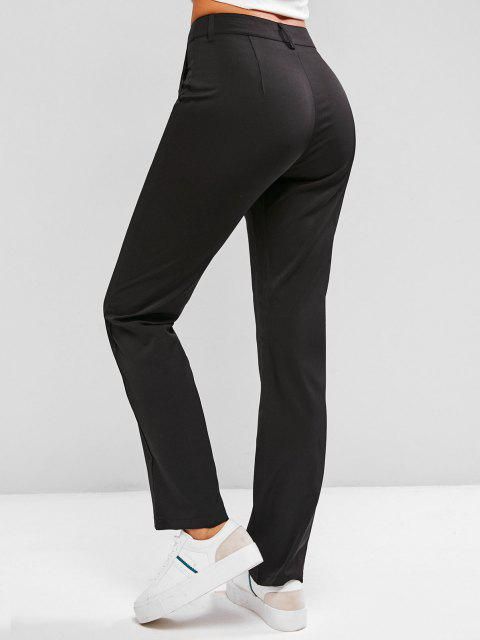 buy Fold Pleated Tailored Pants - BLACK S Mobile