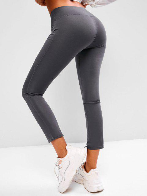 chic Wide Waistband Pocket Yoga Boot Cut Pants - GRAY L Mobile