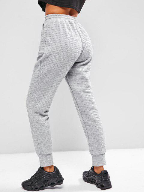 hot ZAFUL Quilted Pocket Drawstring Sweatpants - LIGHT GRAY M Mobile