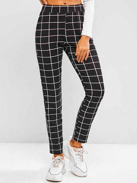 best Grid Pull On Tapered Pants - BLACK S Mobile