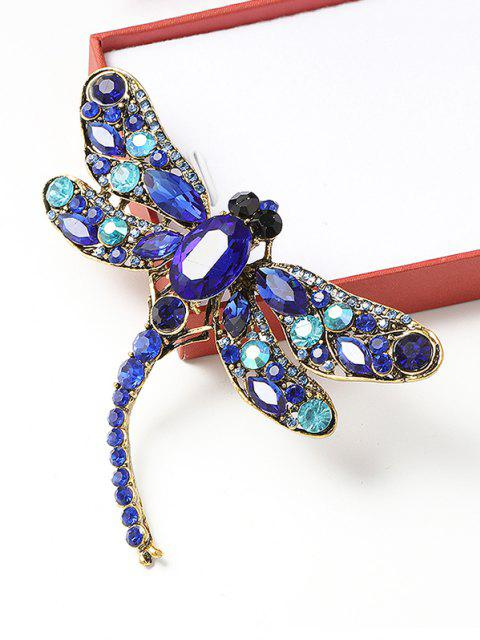 ladies Retro Dragonfly Shape Rhinestone Brooch - BLUEBERRY BLUE  Mobile