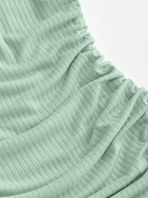ZAFUL Anliegendes Geripptes Bandeau Kleid - Hellblau Lilie XL Mobile