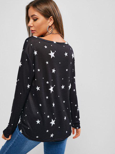 T-Shirt Asimmetrica in Maglia con Motivo di Stelle - Nero M Mobile