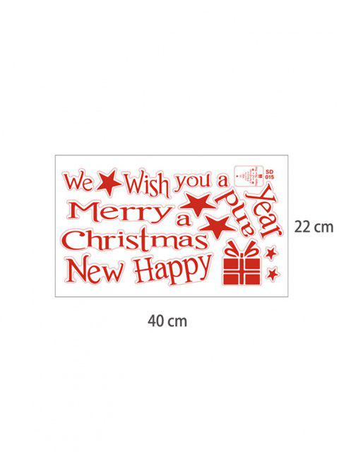 new Christmas Tree Wish Letter Print Wall Art Stickers - RED 40X22CM Mobile