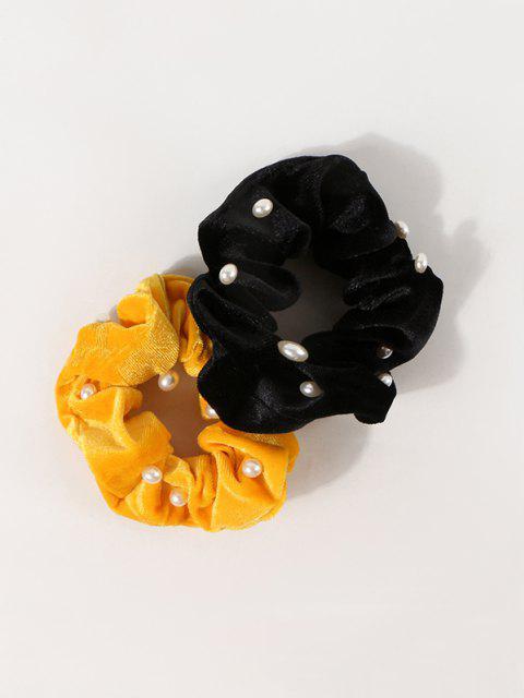 best 2Pcs Faux Pearl Velour Scrunchie Set - MULTI-A  Mobile