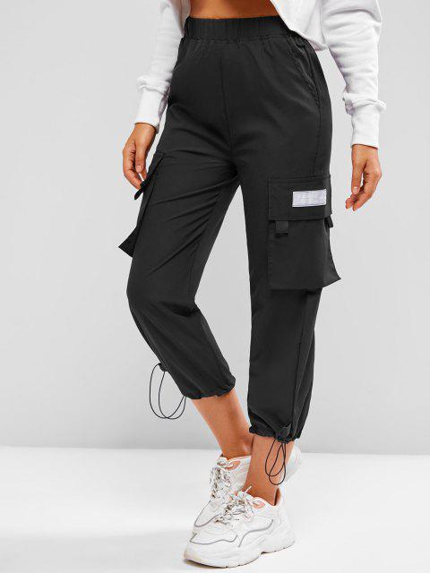unique Toggle Drawstring Hem Letter Patched Cargo Pants - BLACK M Mobile