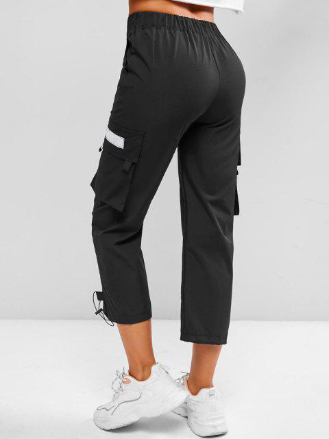 ladies Toggle Drawstring Hem Letter Patched Cargo Pants - BLACK L Mobile