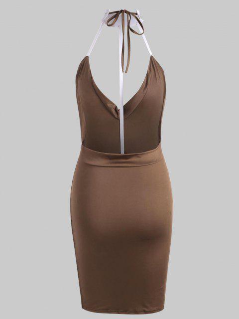 fancy Ladder Cutout Metallic Thread Draped Bodycon Dress - LIGHT COFFEE S Mobile