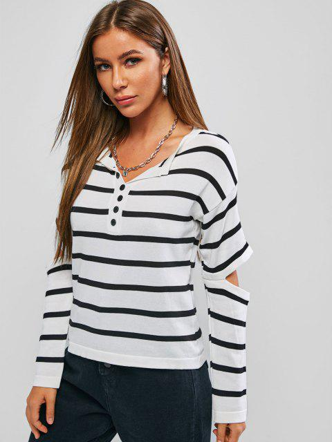 Gestreifter Falschen Knöpfe Ausschnitt Ellbogen Pullover - Weiß Eine Größe Mobile
