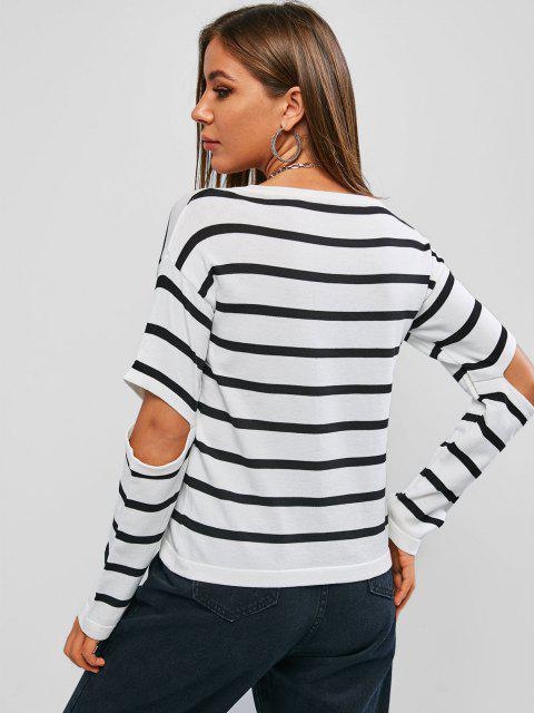 outfits Striped Mock Button Cutout Elbow Jumper Sweater - WHITE ONE SIZE Mobile